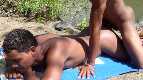 Fun-loving gay Latinos in outdoor anal one-on-one